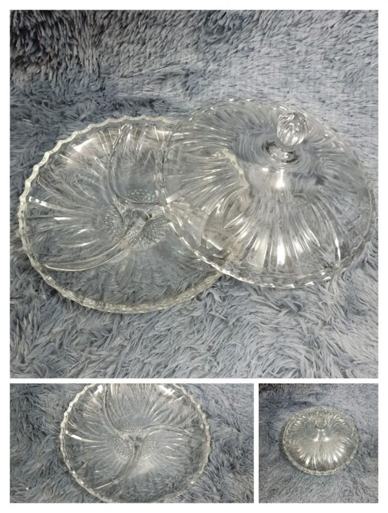 Âu mứt thủy tinh trắng 24cm