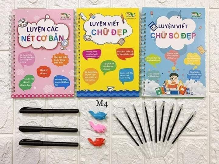 Bộ 3 vở tập tô tập viết tự xóa (chữ số Việt Nam) kèm bút