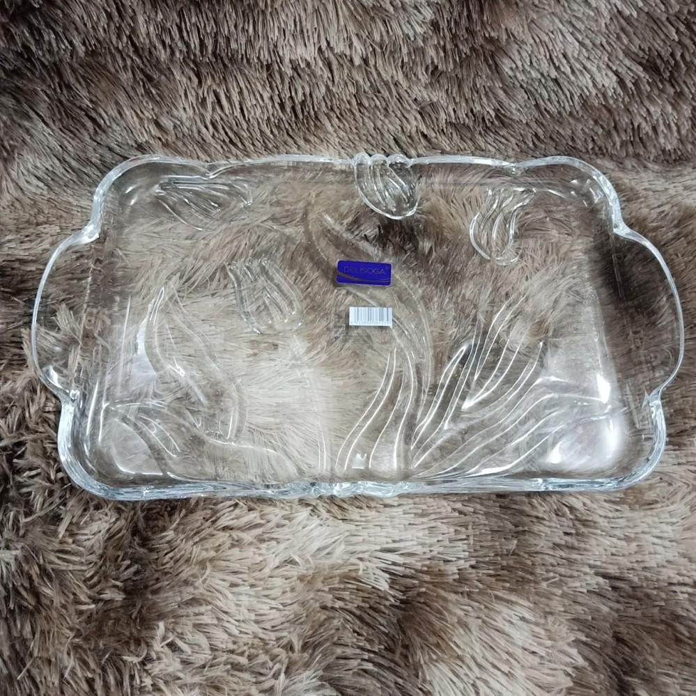 Đĩa thủy tinh chữ nhật tuylip trắng