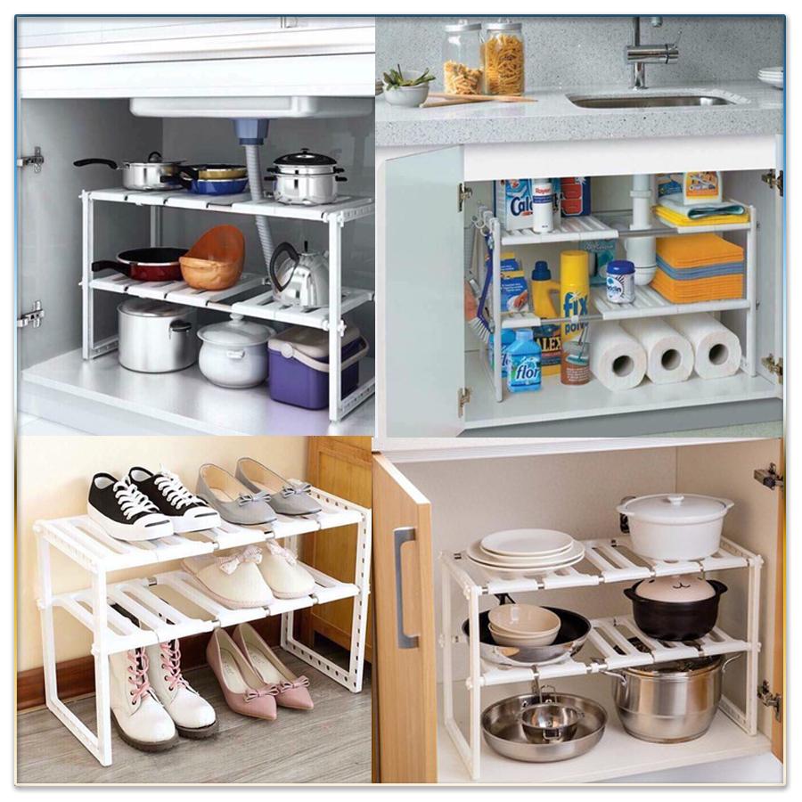 Giá 2 tầng điều chỉnh độ dài (gầm bếp)