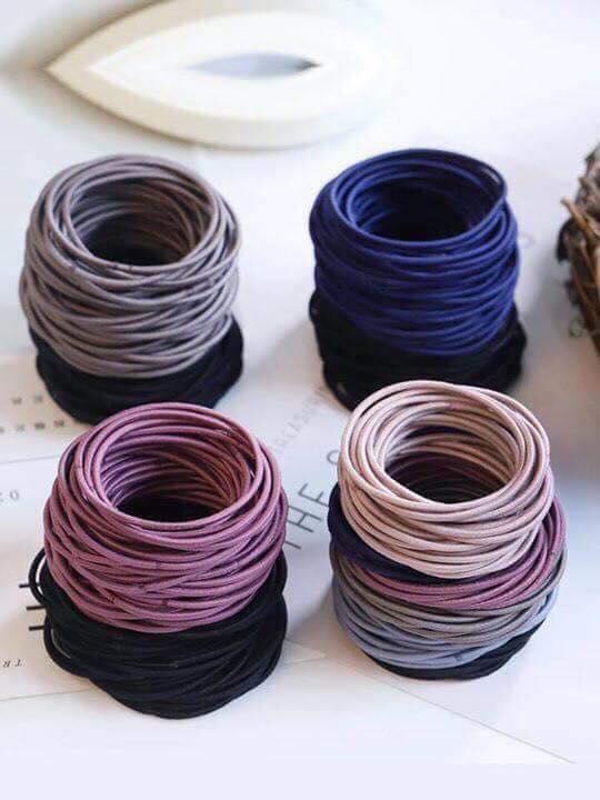 Set 100 dây buộc tóc nhiều màu