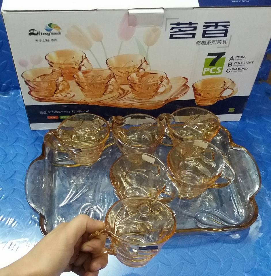 Bộ khay + 6 cốc uống cafe thủy tinh - tuylip vàng