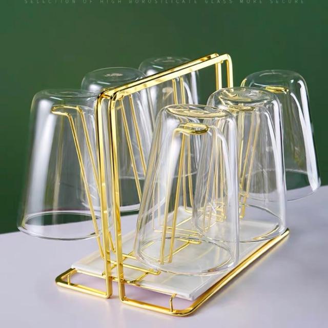 Khay cắm cốc mạ vàng - chữ nhật