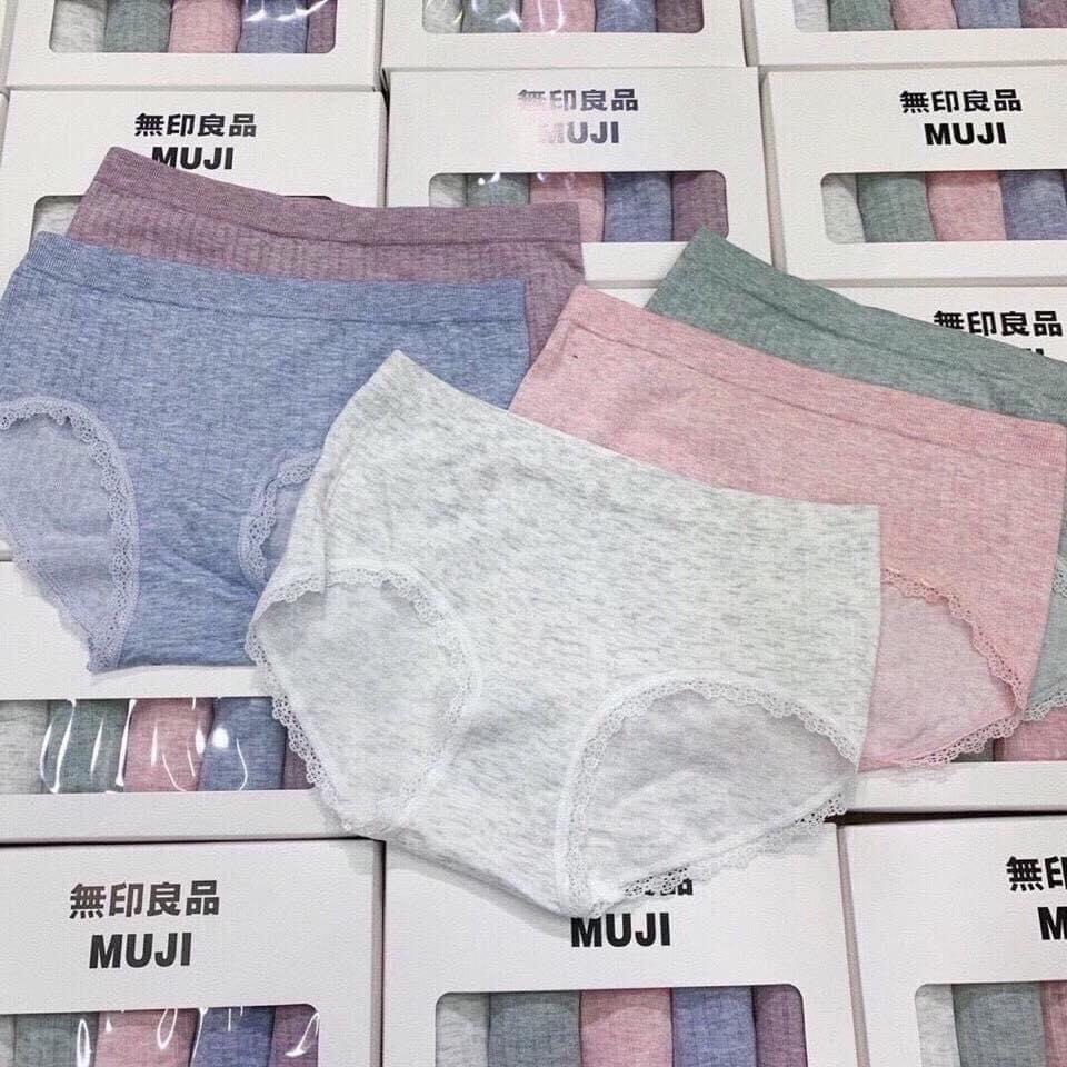 Hộp 5 quần lót muji cotton hộp trắng