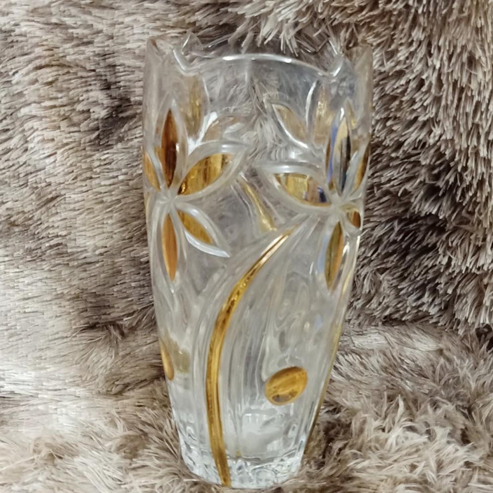 Lọ hoa 30cm bầu, nhũ vàng