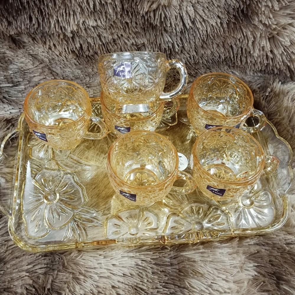 Bộ khay + 6 cốc uống cafe thủy tinh - mai vàng