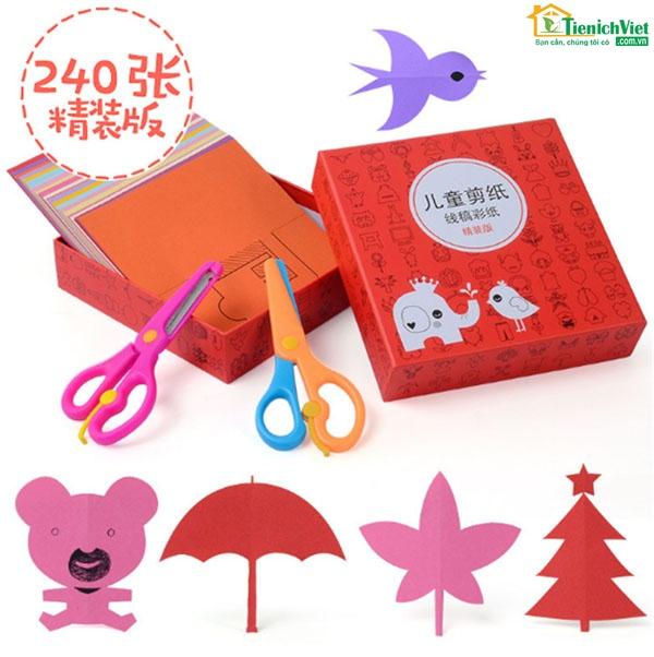 Bộ đồ chơi cắt giấy 240 tờ kèm 2 kéo