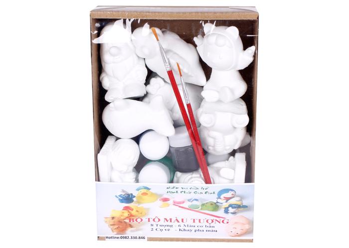 Bộ tô tượng 8 con nhỏ kèm màu, bút