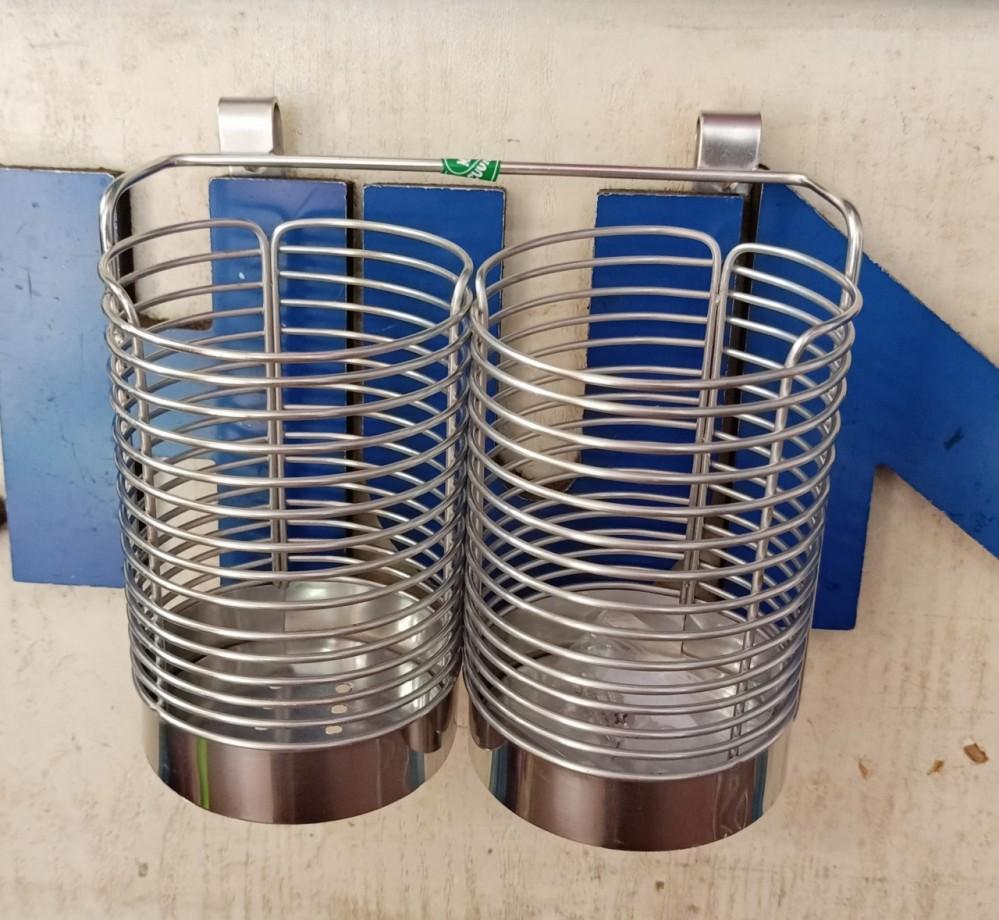 Ống cắm đũa/bàn chải inox đôi tròn