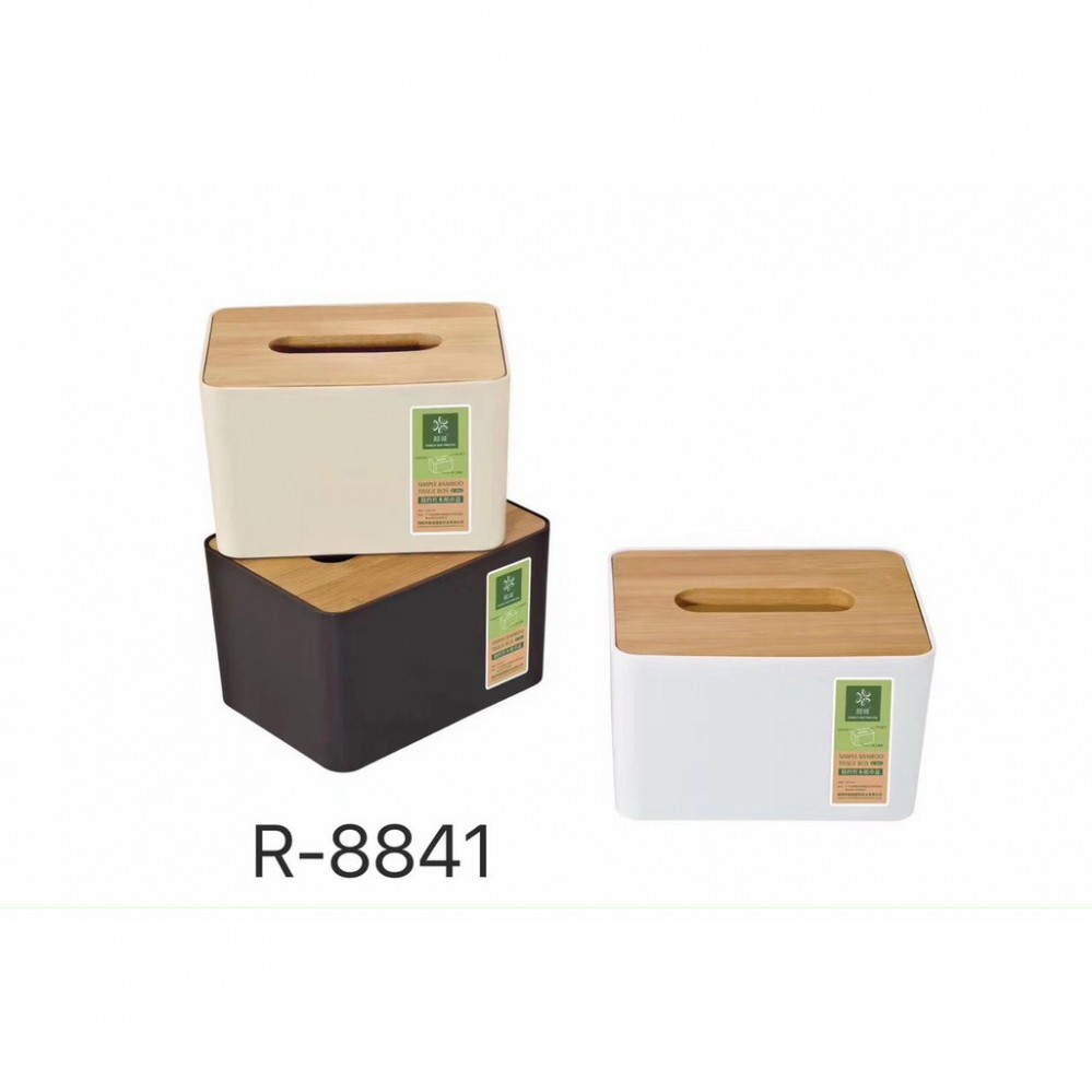 Hộp đựng giấy mặt gỗ - nhỡ (16x12cm cao 10cm)