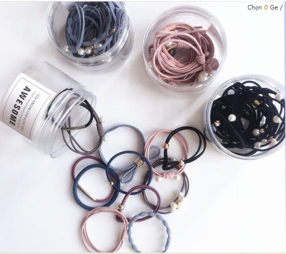 Hộp 12 dây buộc tóc nhiều màu