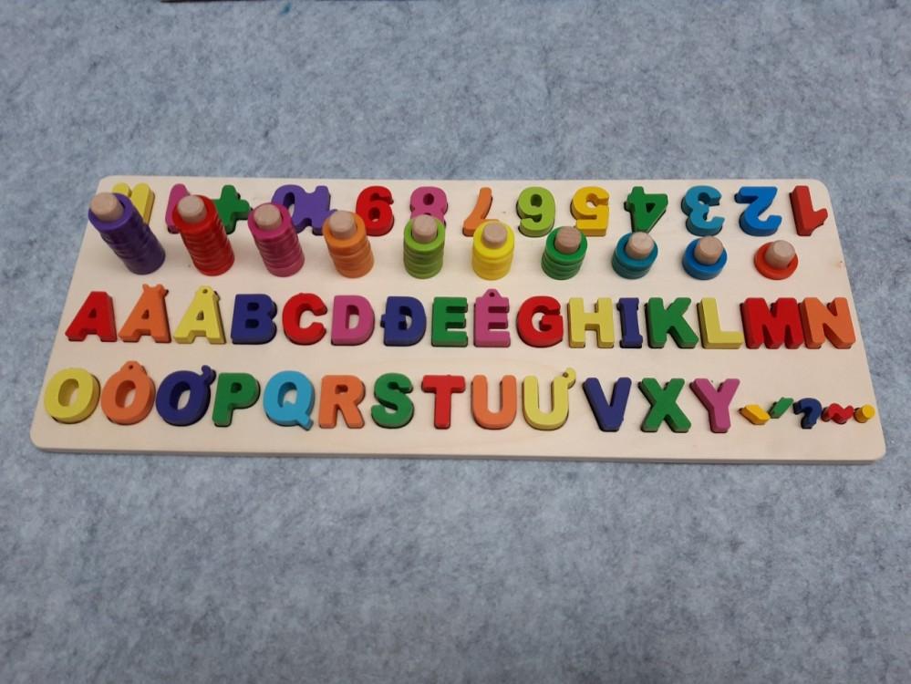 Bộ thả hình gỗ học chữ, số, đếm, màu