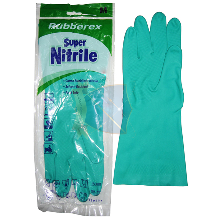 Găng tay cao su siêu dai Malaysia (xanh)