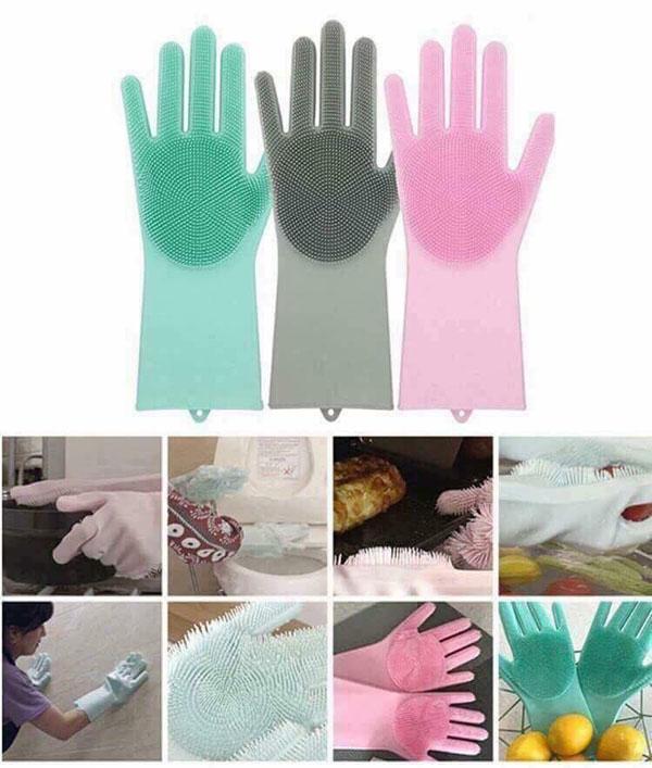 1 đôi găng tay silicon kiêm rửa bát