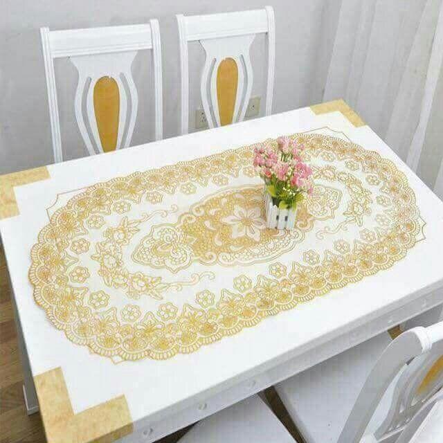 Khăn trải bàn hoa văn nổi 50x110cm (ovan/chữ nhật)
