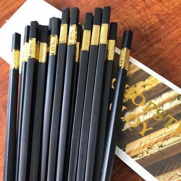 Hộp 10 đôi đũa Văn Chương khảm vàng (kim loại)
