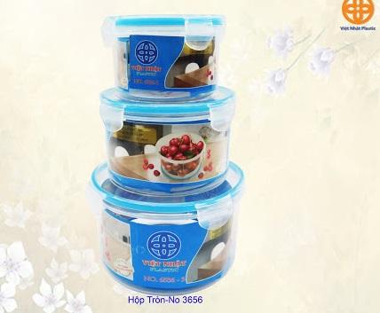 Bộ 3 hộp đựng thực phẩm Việt Nhật tròn