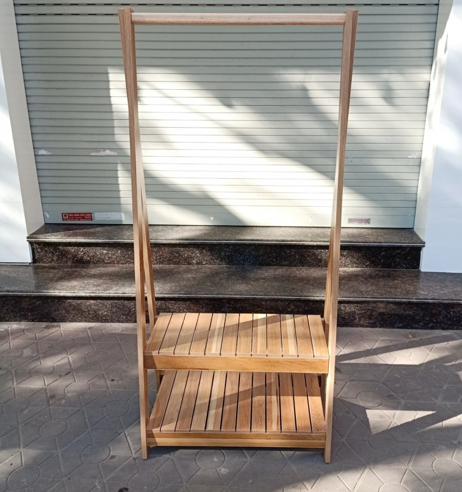 Kệ gỗ treo quần áo chữ A 2 tầng