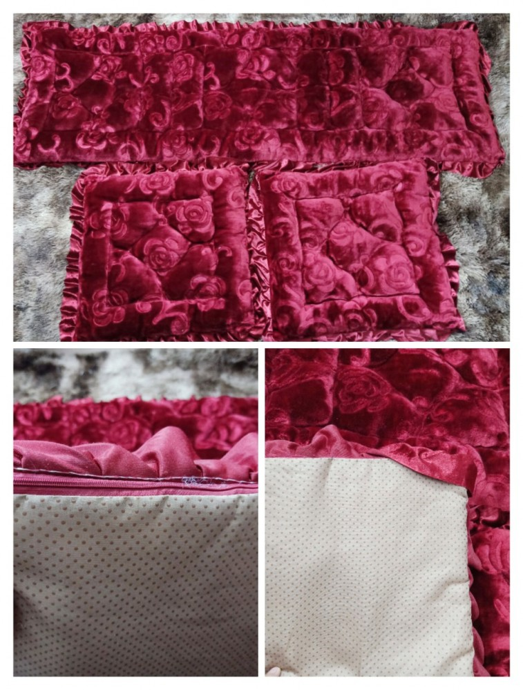 Bộ thảm ghế hoa chìm nhung đẹp - đỏ