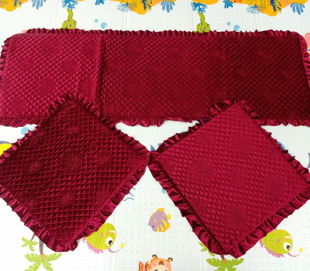 Bộ thảm ghế 1 màu hoa chìm - đỏ