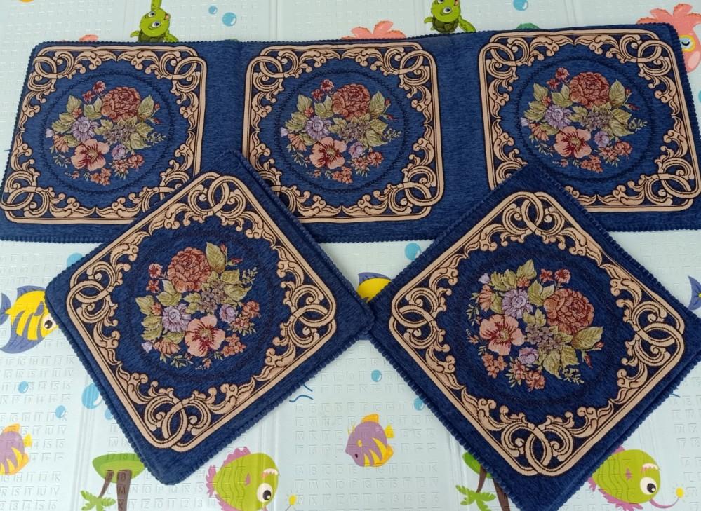 Bộ thảm ghế phong cách Tây Âu - xanh