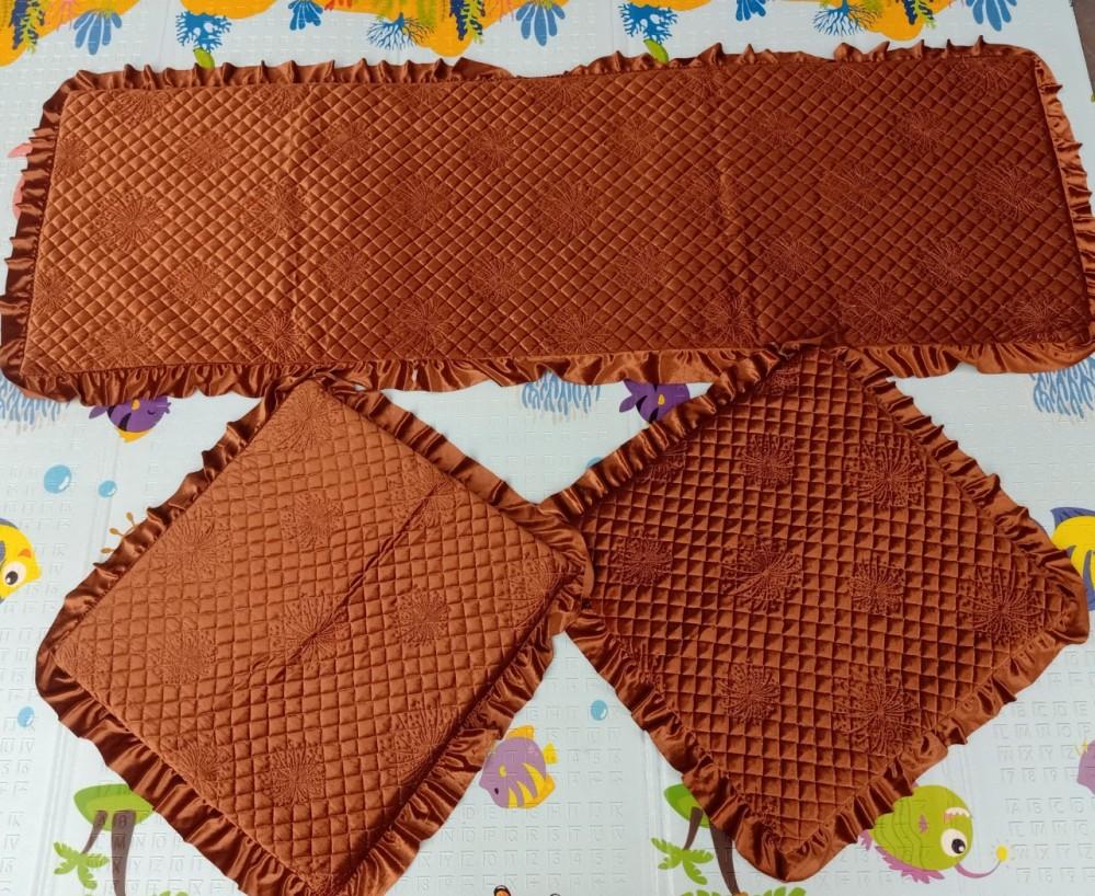 Bộ thảm ghế 1 màu hoa chìm - vàng