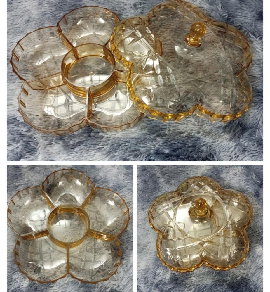 Âu mứt nhựa mica vàng hoa (ĐK 30cm)