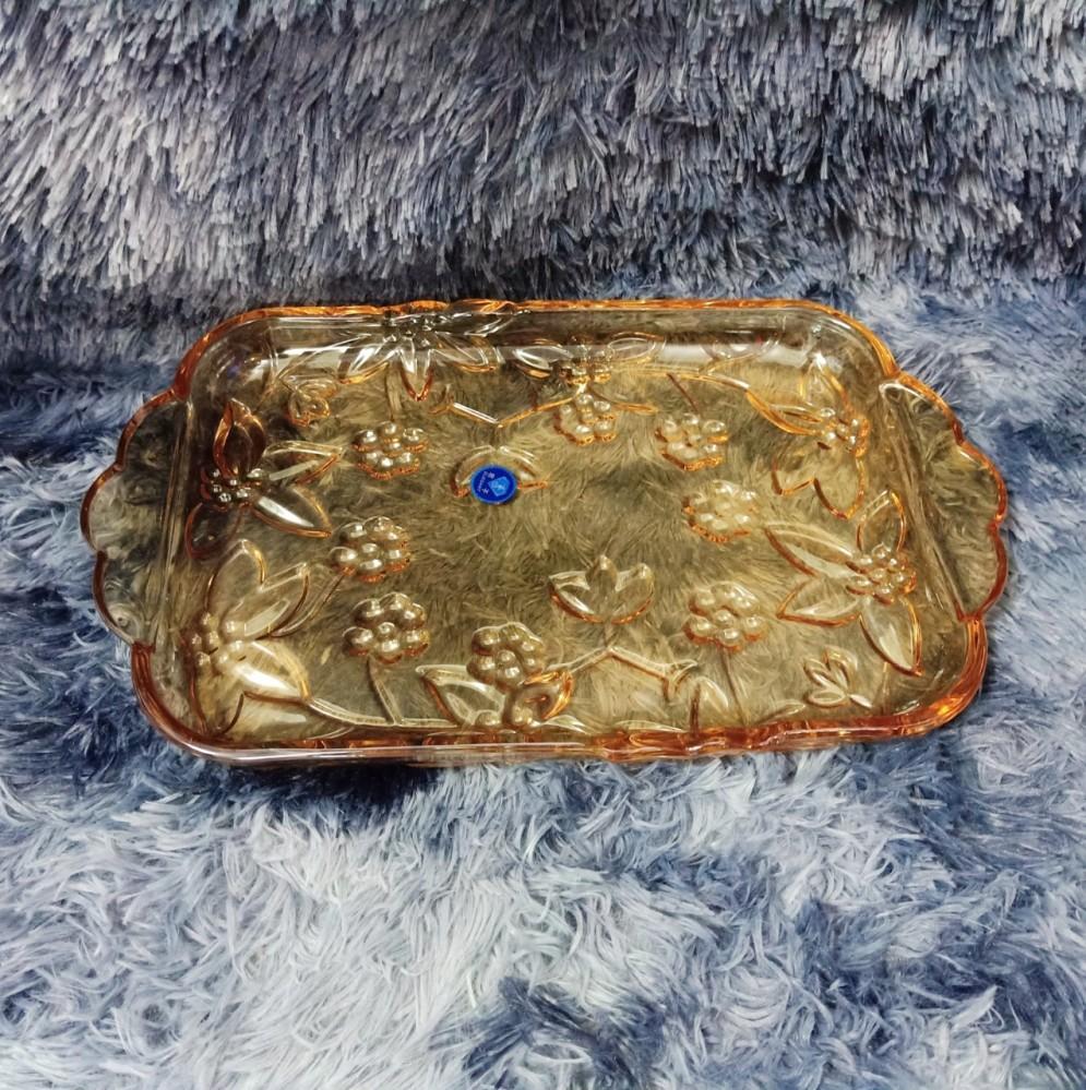 Đĩa thủy tinh chữ nhật đào vàng