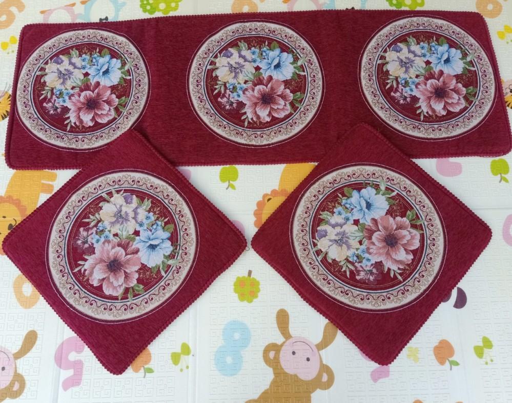 Bộ thảm ghế phong cách Tây Âu - đỏ hoa