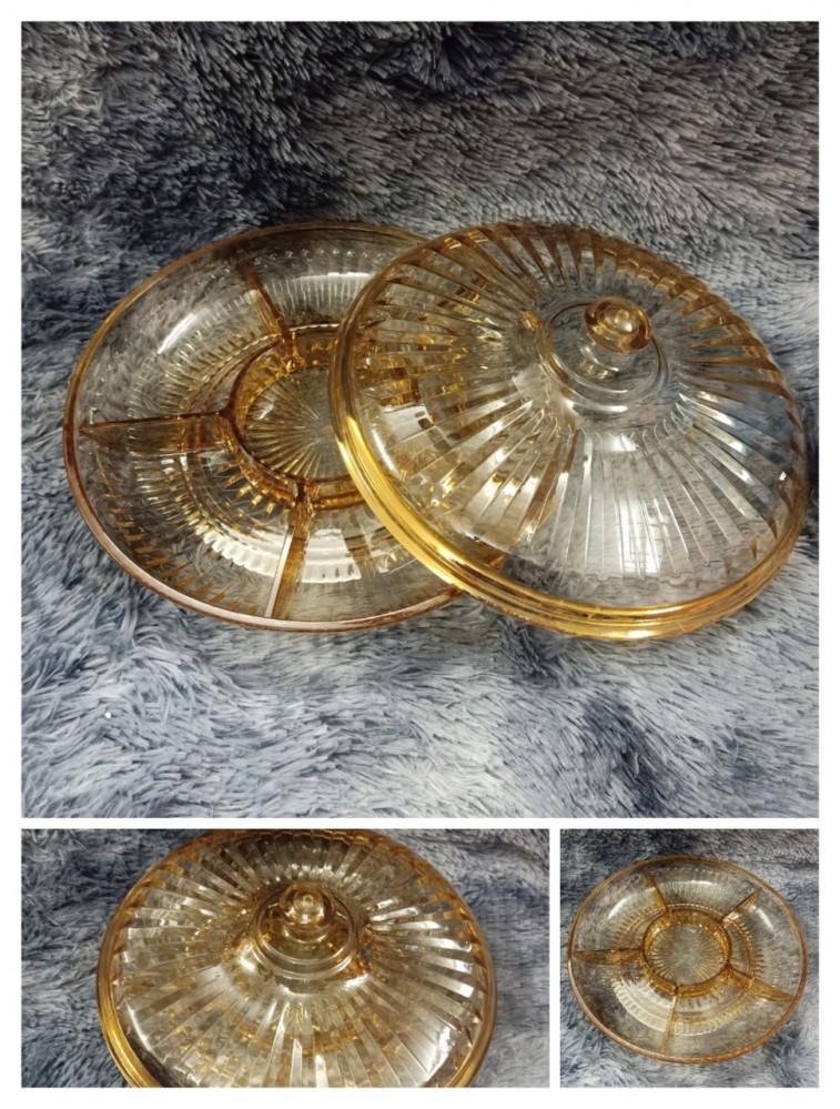 Âu mứt nhựa mica vàng khía (ĐK 30cm)