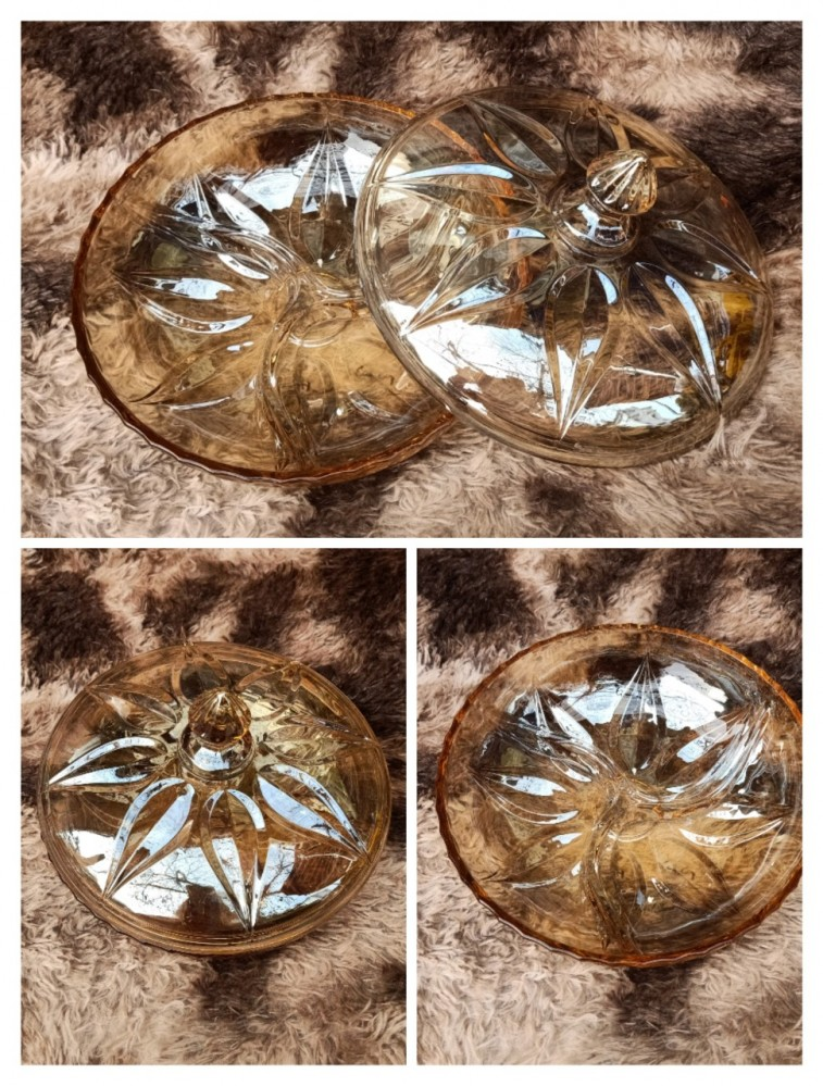 Âu mứt thủy tinh vàng 28cm - lá