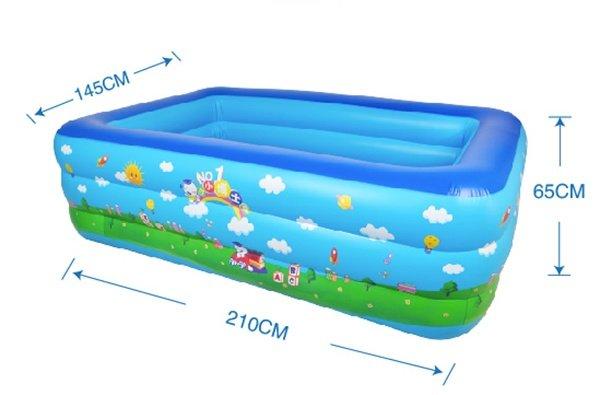 Bể bơi chữ nhật 210x140x65cm (3 tầng)