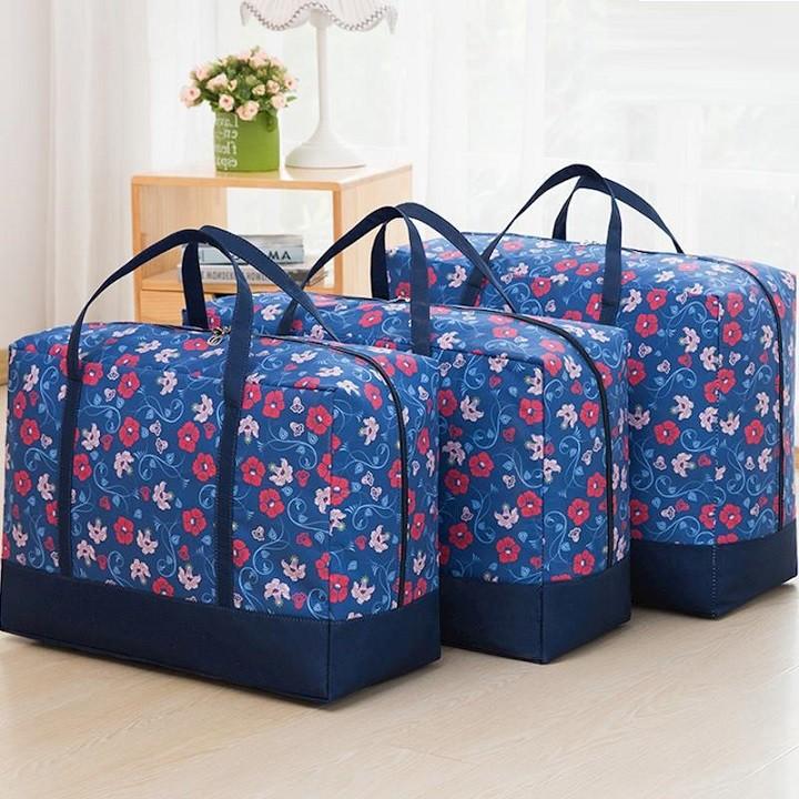 Bộ 3 túi đựng quần áo chăn màn họa tiết hoa chống thấm